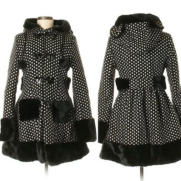 Hell Bunny Jackets Coats S Polka Dot Coat Jacket Ears Hood